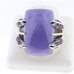 SILVER RING WITH AMETHYST AND PURPLE JADE