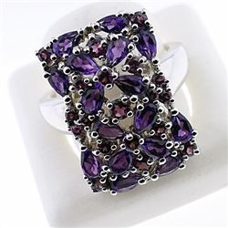 SILVER RING WITH AMETHYST AND RHODOLITE