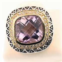 SILVER RING WITH AMETHYST CHECKER TOP