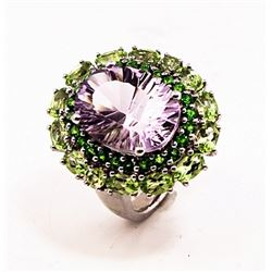 SILVER RING WITH AMETHYST, CHROME DIOPSIDE AND PERIDOT