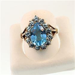 SILVER RING WITH BLUE TOPAZ AND BLUE ZIRCON