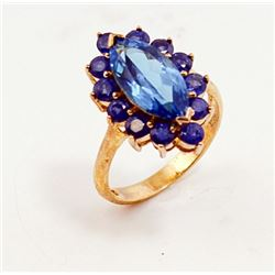 SILVER RING WITH BLUE TOPAZ AND SAPPHIRE