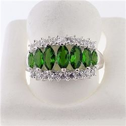 SILVER RING WITH CHROME DIOPSIDE AND WHITE TOPAZ