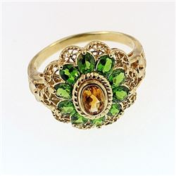 SILVER RING WITH CITRENE AND CHROME DIOPSIDE