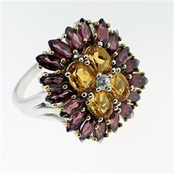 SILVER RING WITH CITRENE AND RHODOLITE
