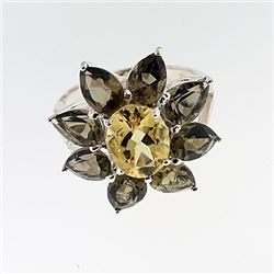 SILVER RING WITH CITRENE AND SMOKY TOPAZ