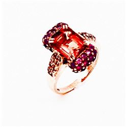 SILVER RING WITH CITRENE, RUBY AND SAPPHIRE