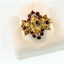 SILVER RING WITH CITRINE AND GARNET