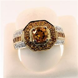 SILVER RING WITH CITRINE AND WHITE ZIRCON