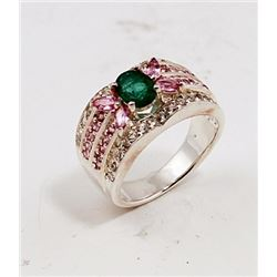 SILVER RING WITH EMERALD AND PINK SAPPHIRE