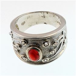 SILVER RING WITH FIRE OPAL AND WHITE ZIRCON
