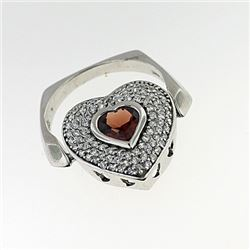SILVER RING WITH GARNET AND WHITE ZIRCON