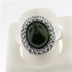 SILVER RING WITH GREEN TOURMALINE AND WHITE TOPAZ