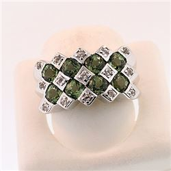 SILVER RING WITH GREEN TOURMALINE AND WHITE ZIRCON