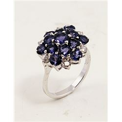 SILVER RING WITH IOLITE AND WHITE ZIRCON