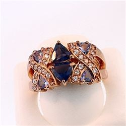SILVER RING WITH IOLITE, TANZNITE AND WHITE ZIRCON