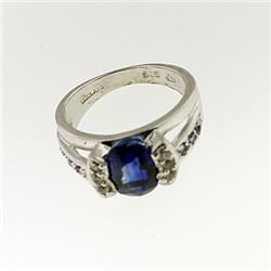 SILVER RING WITH KYANITE AND WHITE TOPAZ