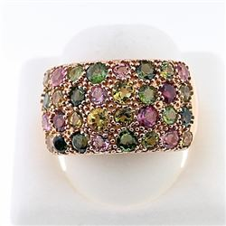 SILVER RING WITH MULTI TOURMALINE