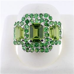 SILVER RING WITH PERIDOT AND TSAVORITE
