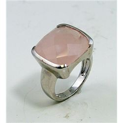 SILVER RING WITH ROSE QUARTZ