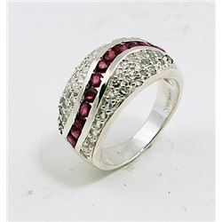SILVER RING WITH RUBY AND WHITE ZIRCON