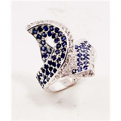 SILVER RING WITH SAPPHIRE AND WHITE ZIRCON