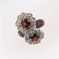 SILVER RING WITH STAR GARNET AND RUBY