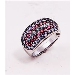 SILVER RING WITH TANZANITE , PINK TOURMALINE AND BLUE ZIRCON
