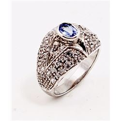 SILVER RING WITH TANZANITE AND WHITE ZIRCON