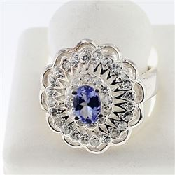 SILVER RING WITH TANZANITE AND WHITE TOPAZ