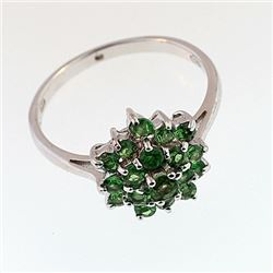 SILVER RING WITH TSAVORITE