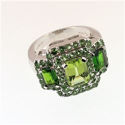 SILVER RING WITH TSAVORITE, CHROME DIOPSIDE AND PERIDOT