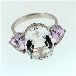 SILVER RING WITH WHITE QUARTZ, PINK AMETHYST AND DIAMOND