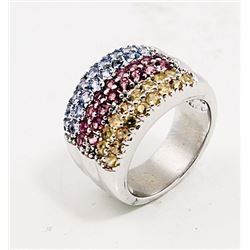 SILVER RING WITH YELLOW SAPPHIRE, PINK TOURMALINE AND BLUE TOPAZ