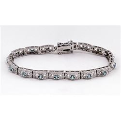 SILVER BRACELET WITH BLUE ZIRCON
