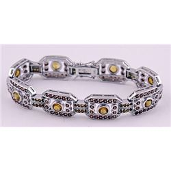 SILVER BRACELET WITH CITRENE AND GARNET