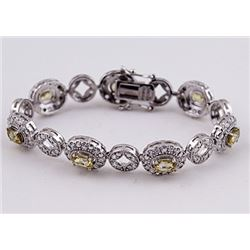 SILVER BRACELET WITH GOLDEN ZIRCON