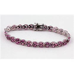 SILVER BRACELET WITH PINK TOURMALINE