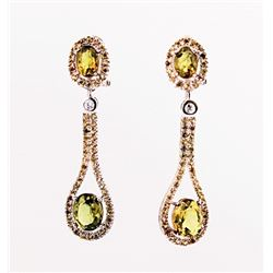SILVER EARRING WITH AMBER AND YELLOW SAPPHIRE