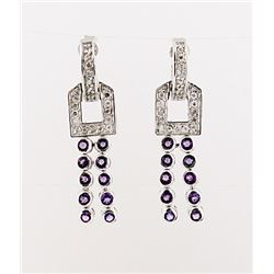 SILVER EARRING WITH AMETHYST AND WHITE TOPAZ