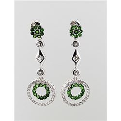 SILVER EARRING WITH CHROME DIOPSIDE AND WHITE TOPAZ