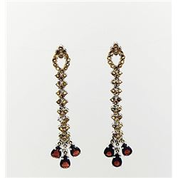 SILVER EARRING WITH CITRENE AND GARNET