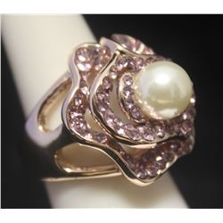 Gorgeous 14kt Rose Gold over Silver Pearl & Sapphire Ring