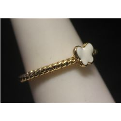 Lavish 14kt Gold over Silver Butterfly Mother of Pearl Ring