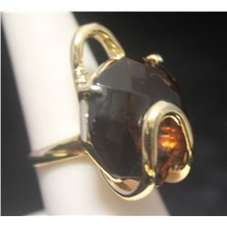 Lavish 14kt Gold over Silver Agate Ring