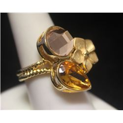 Dazzling 14kt Gold over Silver Designer Ring