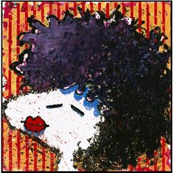 Bird Lips in a Black Velvet Wig by Tom Everhart