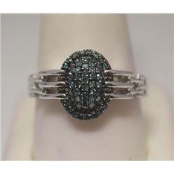 Beautiful Blue Diamonds Silver Ring