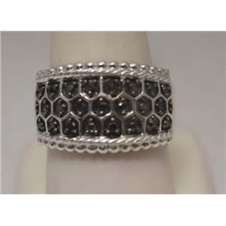 Elegant Unisex Black Diamonds  Silver Ring