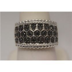 Fine Unisex Black Diamonds Silver Ring